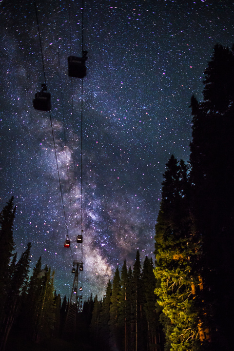 Stars above the Aspen gondola