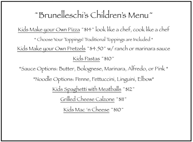 BRUNELLESCHIs Menu