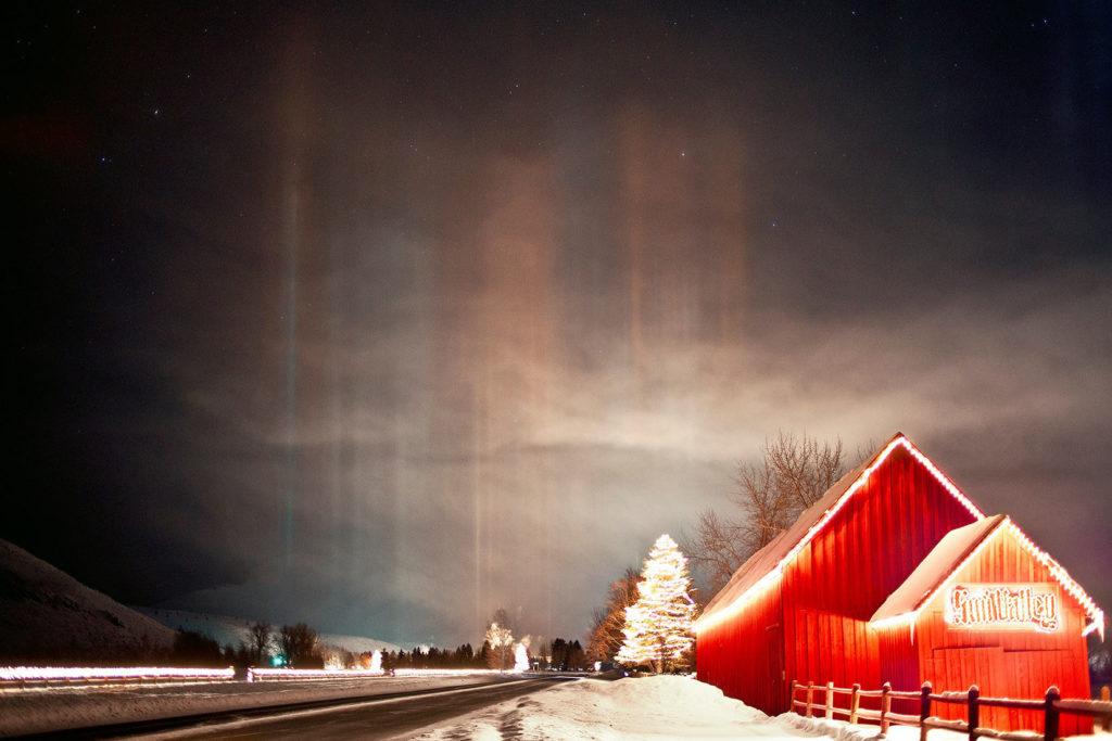Red Barn Sun Valley- Light Pillars
