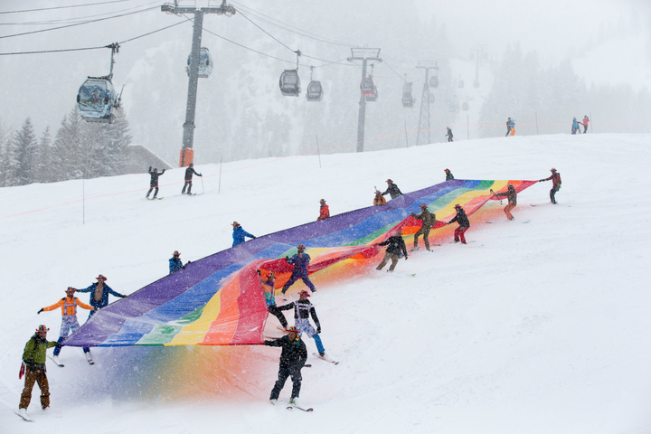 Gay Ski Week Rainbow Banner